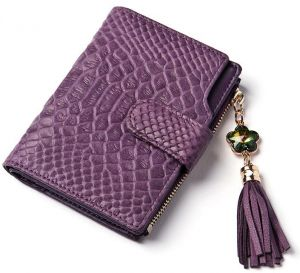 e68493f263c Korean version of the female wallet fringed snakeskin short wallet - purple