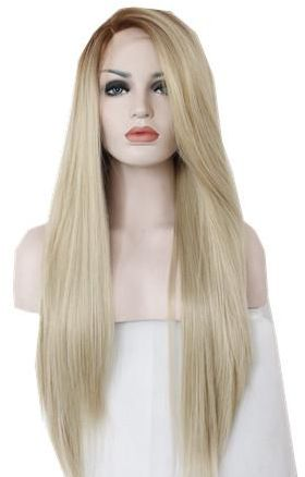Women Straight Hair front lace wig deep invisible part wig blond color  0e3cfa157a