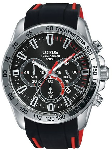 Hand Watch For Men By Lorus Analog Chronograph Rubber Black Rt327fx9