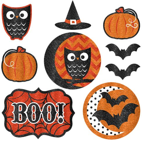Amscan Modern Halloween Paper Pack of 9 Cutouts with Glitter for ...