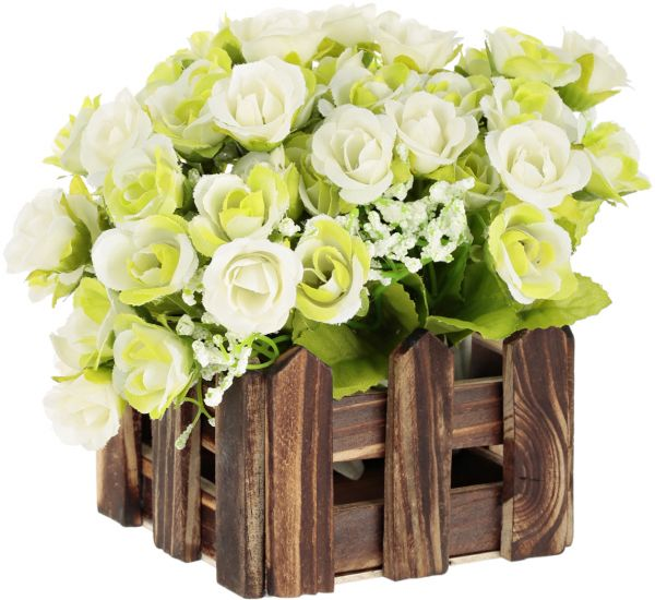 East Lady Wooden Fence Vase With 2 Bouquets Of Plastic Flowers