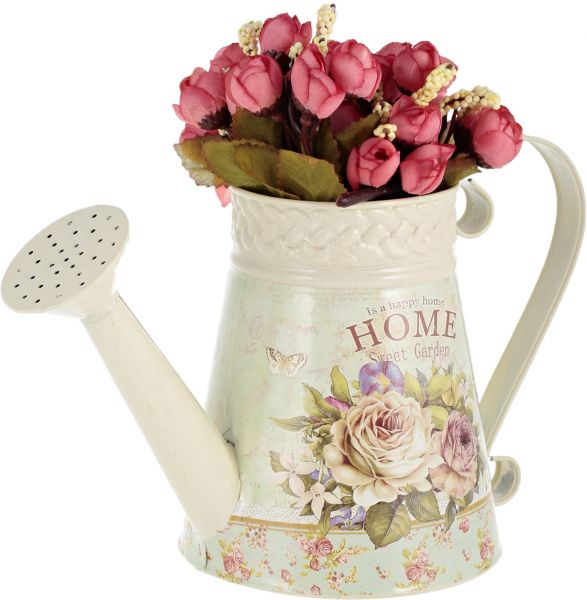East Lady Home Sweet Garden Pail With 2 Bouquets Of Plastic Flowers    Elt656, Pink