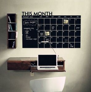 Black Removable Chalkboard Paper Monthly Calendar Wall Stickers Office Home Study Room Message Board Decals Art Mural