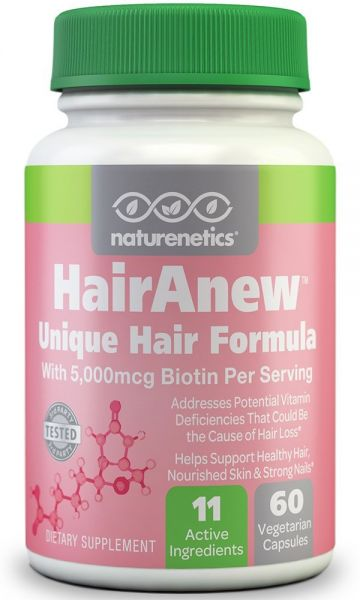 Naturenetics HairAnew Unique Hair Growth Vitamins with Biotin - 60 Capsules