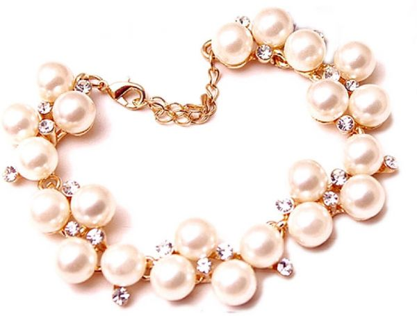 Fashion Pearl And Rhinestone Gold Plated Bangle Bracelet Price In