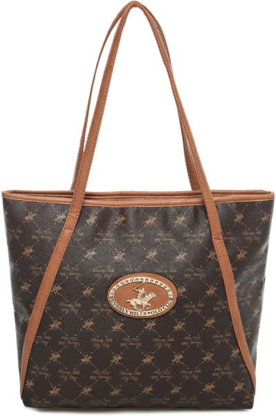 a1388f50c100 Beverly Hills Polo Club BHVA9342 Monogram Tote Bag for Women - Brown ...
