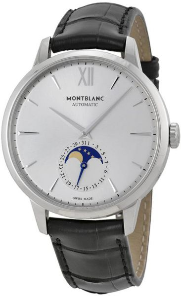 42cd7bd6bf5 Montblanc Meisterstuck Heritage Moonstruck Silver Dial Black Leather ...