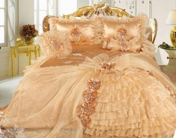Hanani Sandi Satin Wedding Bedding Set 6pcs Gold