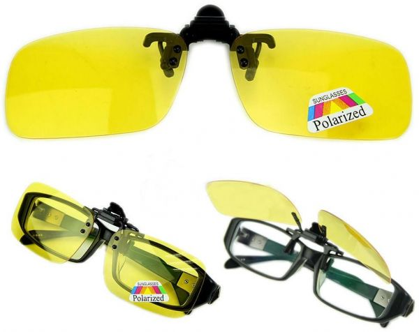 603d5af5320 Polarized Day Night Vision Flip up Clip on Lens Driving Sunglasses S Size  Yellow  ETH-P4