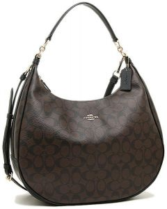 ad3ee12323 COACH F38300 HARLEY HOBO IN SIGNATURE IMITATION GOLD BROWN BLACK ...