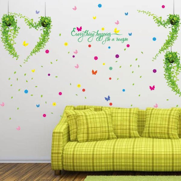 Fresh flowers with potted plants living room stickers Design Wall ...