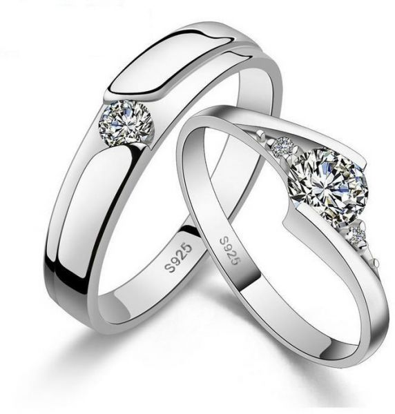 2ee65a8c5c 925 Sterling Silver Shining Diamond Wedding Gift Love Couple Ring ...
