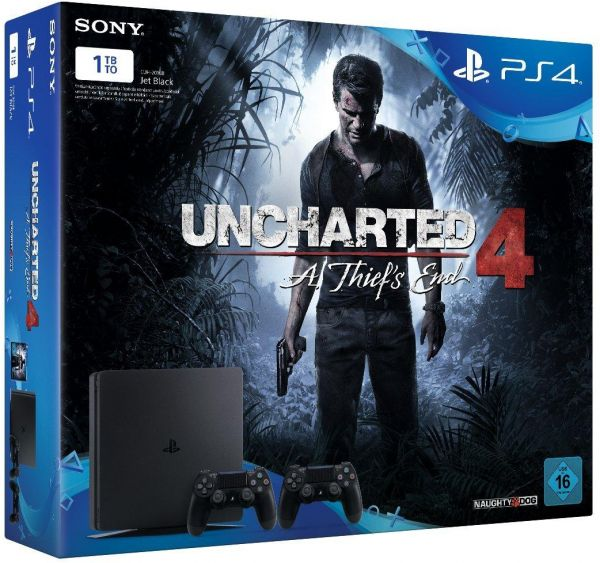 Playstation 4 Slim 1tb Uncharted 4 2 Controllers Dualshock 4