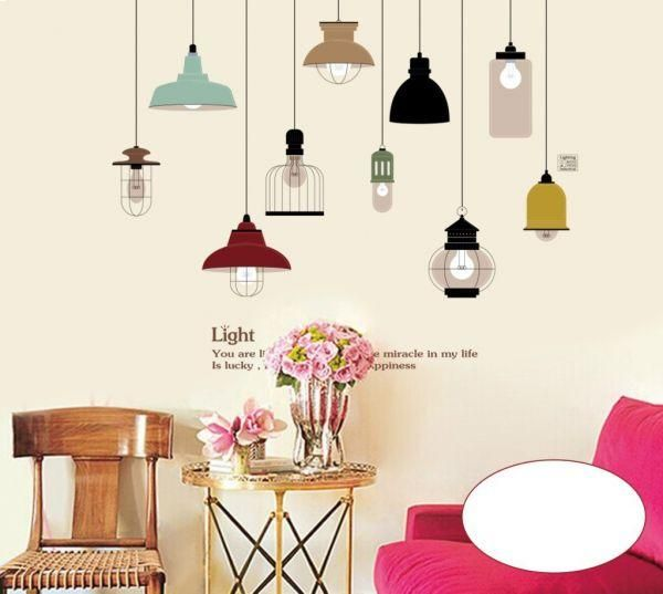 Colorful Droplight PVC Wall Stickers DIY Home Decor Removable Wallpaper