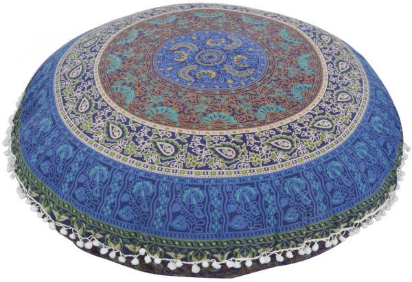 Nidhi Blue and Brown Round Mandala Floor Pillow cover and insert 32 ...