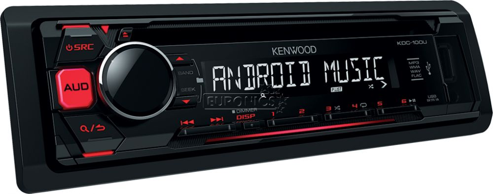 Kenwood KDC-100UR Car Audio Stereo, CD/USB/AUX Player, Android/Sub-Woofer Control