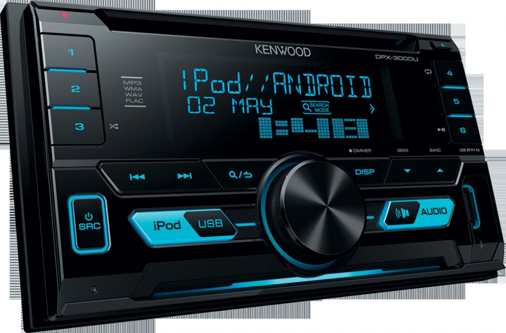 Kenwood DPX-3000U 2DIN Car Audio Stereo, CD/USB/AUX Player, iOS/Android/Sub-woofer Control