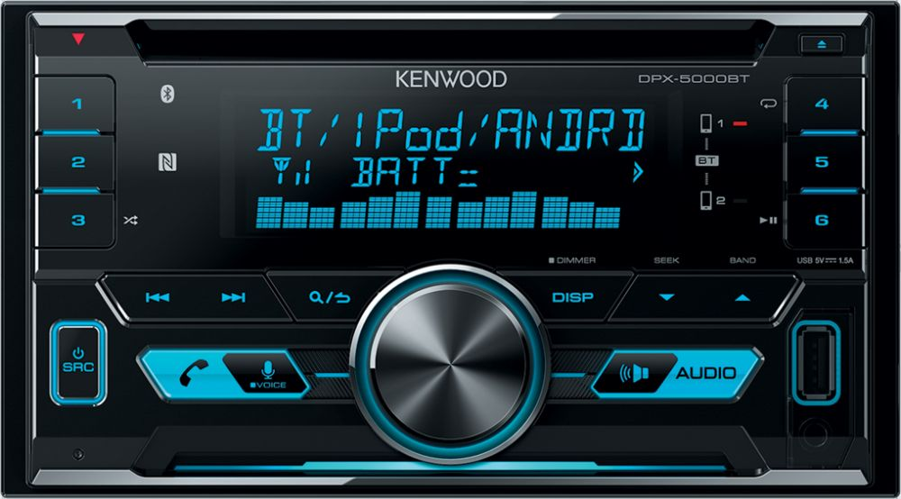 Kenwood DPX-5000BT 2DIN Car Audio Stereo, CD/USB/AUX Player, iOS/Android/Bluetooth/Sub-woofer Control