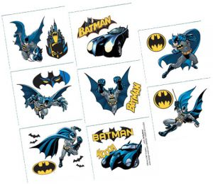 Batman trolls party favors 4count amscansun stachesamerican amscan 8 sheets batman favors tattoo 394030 multi color m4hsunfo