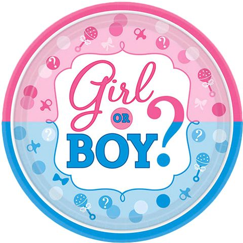 Amscan Girl or Boy? 7 inch Round Paper Plates 8 Pieces - 541573 Blue/Pink  sc 1 st  Kanbkam & Amscan Girl or Boy? 7 inch Round Paper Plates 8 Pieces - 541573 ...