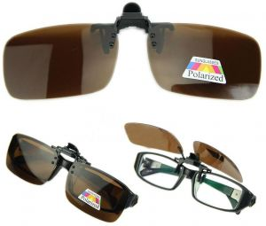 1a109296e03 Polarized Lenses Flip-Up Clip On Sunglasses UV400 Driving Outdoor Brown Glasses  Size L