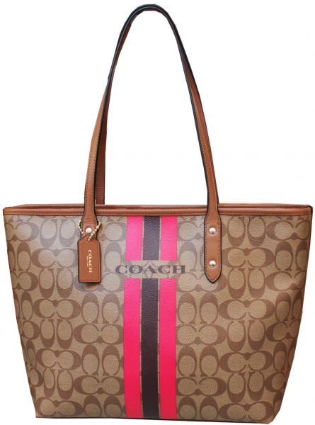 b13aadf9c3 COACH F38405 IMCMY VARSITY STRIPE CITY ZIP TOTE IN SIGNATURE FOR ...