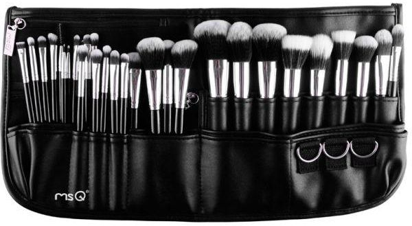Full 29pcs Black Color makeup brush set Pro Function Cosmetic Brushes Set with PU leather belt