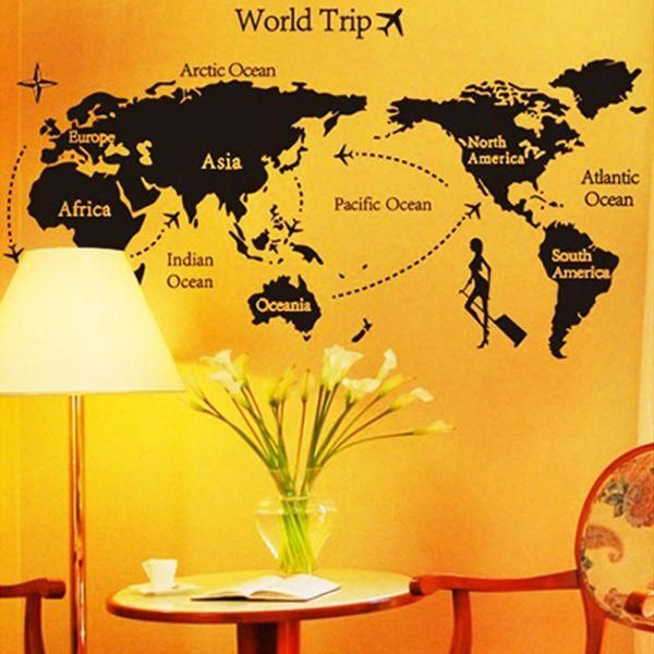 Souq ap world map trip black simple diy wall stickers art decor this item is currently out of stock publicscrutiny Image collections