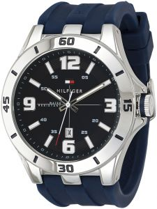 Tommy Hilfiger Men's Black Dial Silicone Band Watch - 1791062