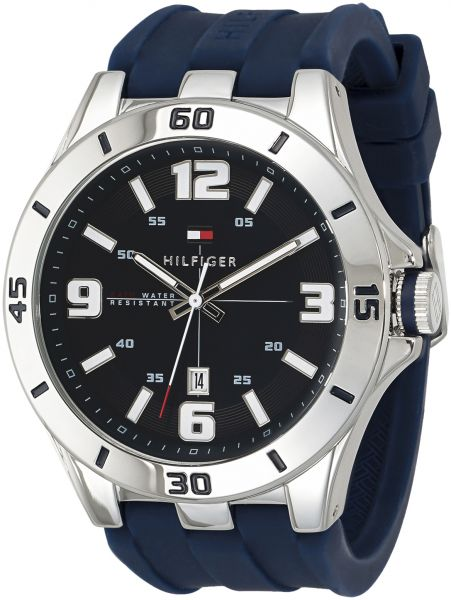 Tommy Hilfiger Men S Black Dial Silicone Band Watch 1791062 Price