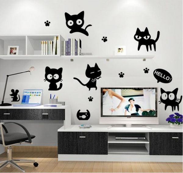 Black Cat Wallpaper Removable Wall Stickers Decals Home Decor