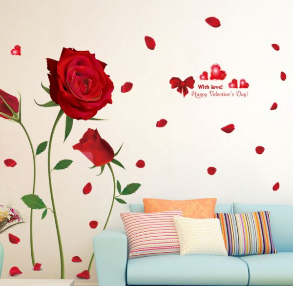 Beautiful Red Rose Flower Petal Diy Waterproof Removable Pvc Wall Sticker For Living Room Bedroom Wallpaper