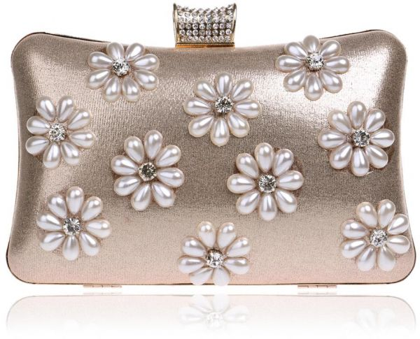 51d816ea66c7 Fashion Classic Lady Pearls Clutch Bag Luxury Chain Evening Bag Handbag -  Gold