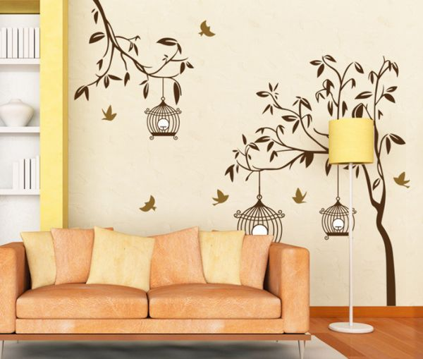 Tree Wall Art Sticker Bird Cage