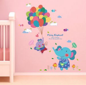 Lovely Cartoon Elephant Colorful Balloon Wall Sticker Diy Removable Wallpaper Decor Baby Room Home Decoration Decal