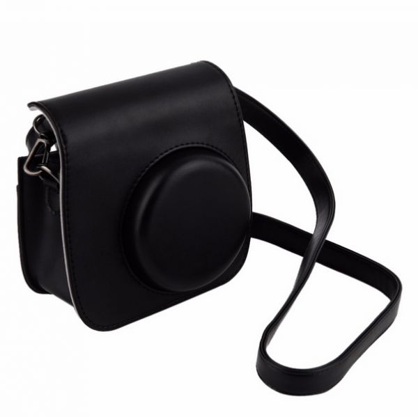 black leather camera strap bag case cover pouch protector for