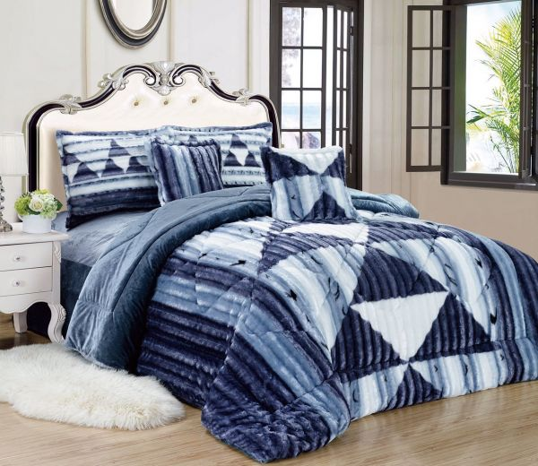 Geometric Winter Fur Comforter Set 6 Pcs By Moon King Size Blue