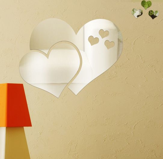 Silver Heart-shaped DIY Removable Mirror Wall Sticker TV Bedroom ...