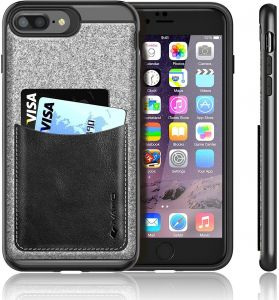 finest selection f41f3 f2332 iPhone 7 Plus Case iVAPO iPhone 7 Plus Cover [Poker Series] Genuine Leather  Pocket iPhone Cases for iPhone 7 Plus 5.5inch Phone Case