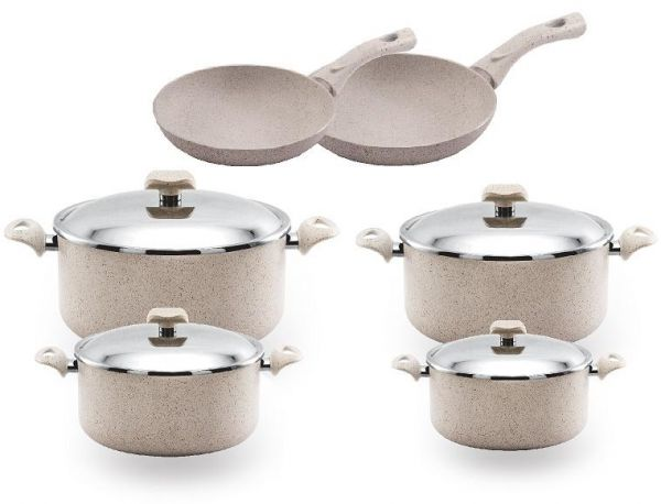 nouval stone 10 pieces granite cookware set of 4 pots 2 frying pan beige price in egypt. Black Bedroom Furniture Sets. Home Design Ideas
