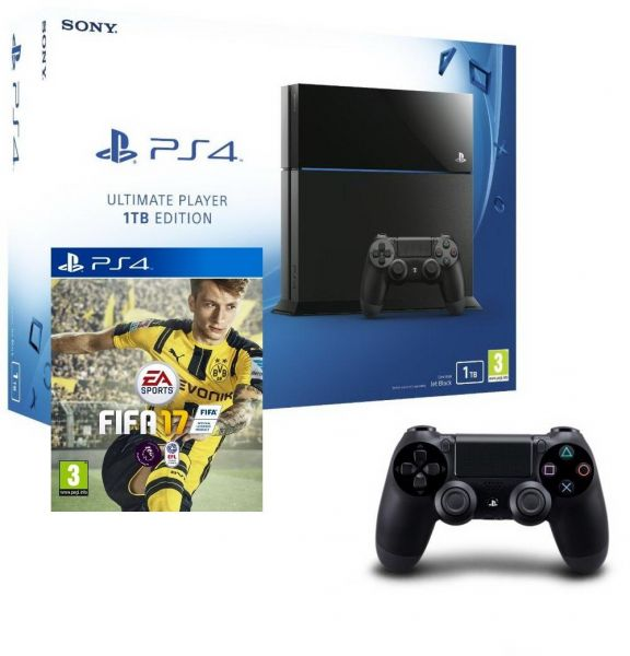 Sony PlayStation 4- 1 TB- black with extra controller + FIFA 2017