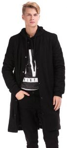 Ravin Black Mixed Materials Peacoat For Men