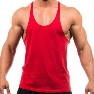 ac43d30e0f43f Unisex Red XL size Y back muscle sleeveless gym fitness shirt