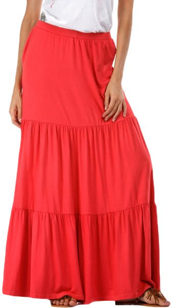 Ravin Red Cotton Skater Skirt For Women