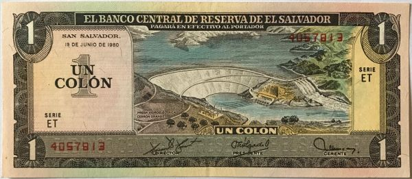 El Salvador One Colon Old Rare Paper Money Souq Uae Rh Com Exchange Rate Called