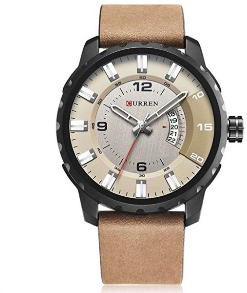 50cf2d3ac Curren 8245 Casual Men Analog Dial Watch With Quartz 3 Dials Waterproof Leather  Strap Watch - Beige