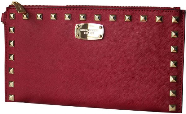 49b1a20e83fc64 MICHAEL KORS 35S6GFSW1L SAFFIANO STUDDED LEATHER ZIP CLUTCH AND ...