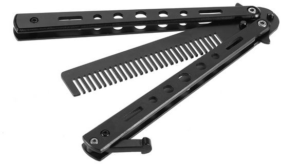 Anself Stainless Steel Balisong Butterfly Folding Balisong and Comb 2 in 1  Cool Practice Tool Trainer Tool Balisong Flail Tool Black