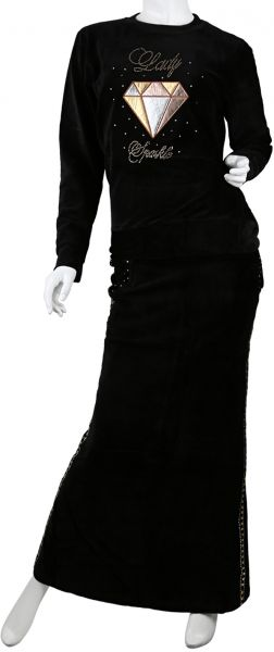 cad40291c244 Candy Stacey Black Velvet Long Top With Skirt Set For Women ...
