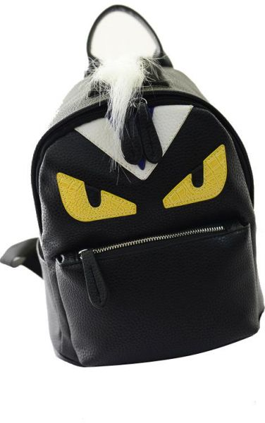 Demon small monster big eyes backpack PU leather fashion yellow eye ... 408c83787d36a